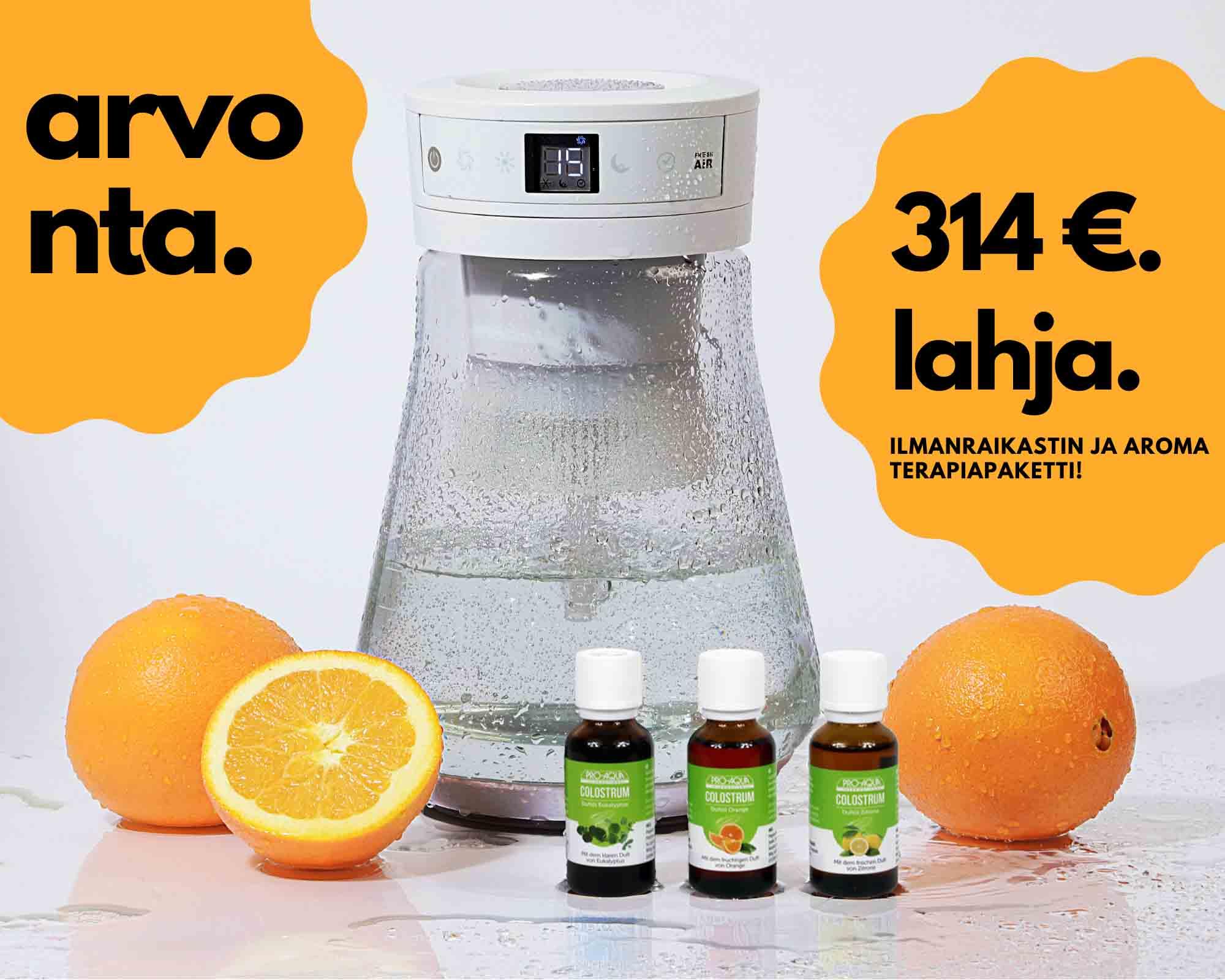 PRO-AQUA Arvonta 2021 Maaliskuu Ilmanraikastin ja aromaterapiapaketti