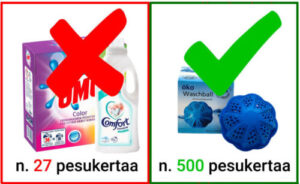 Ekopesupallo pesee pyykit ekologisesti ja puhtaaksi ilman pyykinpesuaineita! Jopa yli 500 koneellista pyykkiä!